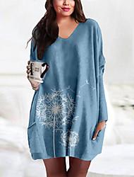 cheap -Women's Plus Size Dress T Shirt Dress Tee Dress Short Mini Dress Long Sleeve Print Pocket Print Casual Spring Summer Big Size XL XXL 3XL 4XL