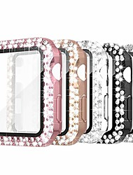 cheap -simpeak 5 pack 38mm double bling case with glass screen protector compatible with apple watch series 3 2 1, crystals hard case replacement for iwatch 38mm, rose gold pink/black/silver/clear