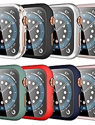 cheap -[8 pack] snblk compatible for apple watch case 44mm series 6 5 4 se with built-in tempered glass screen protector, touch sensitive full protective hard pc bumper cover