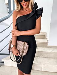 cheap -ebay amazon europe and the united states cross-border hot style 2021 summer slim stretch slant collar ruffled sleeve dress women