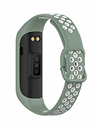 cheap -kinoehoo replacement strap compatible with samsung galaxy fit 2 sm-r220 stainless steel bracelet soft silicone watch straps. (light green and white)