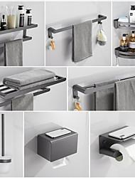 cheap -Bathroom Accessory Wall Mounted Towel Rack /Corner Shelf/Robe Hook/Toilet Paper Holder/Towel Bar/Toilet Brush Holder New Design Aluminum Material Grey