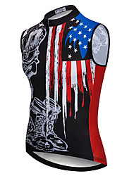 cheap -21Grams Men's Sleeveless Cycling Jersey Summer Spandex Polyester Black American / USA Bike Jersey Top Mountain Bike MTB Road Bike Cycling Quick Dry Moisture Wicking Breathable Sports Clothing Apparel