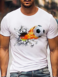cheap -Men's Tee T shirt Shirt Hot Stamping Graphic Prints Football Soccer Football player Print Short Sleeve Casual Tops Cotton Basic Designer Big and Tall White / Summer