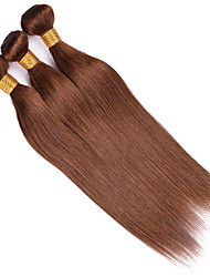 cheap -Ishow 4 Bundles Human Hair Weaves 8A Quality Color Straight Bar 4# Hair Curtain 100% Real Peruvian Wig 4 Pieces Combination Set 10-24 Inch