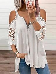 cheap -Women's Holiday Blouse Eyelet top Shirt Plain Cut Out Zipper Lace V Neck Basic Streetwear Tops Cotton Blushing Pink White Black