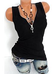 cheap -Women's Plus Size Tops Vest Solid Color Sleeveless V Neck Yellow White Black Big Size L XL XXL 3XL 4XL