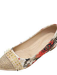 cheap -Women's Flats Hidden Heel Pointed Toe Polyester Rhinestone Rivet Almond Black