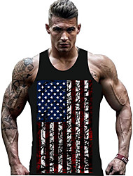 cheap -Men's Tank Top Shirt Graphic National Flag Print Sleeveless Daily Slim Tops Active Round Neck Gray Black / Sports / Summer