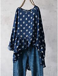 cheap -Women's Plus Size Tops Blouse Shirt Print Half Sleeve Round Neck Blue White Big Size L XL XXL 3XL 4XL