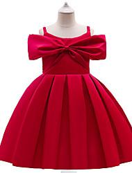 cheap -Princess Knee Length Flower Girl Dresses Party Satin Sleeveless Spaghetti Strap with Sash / Ribbon / Formal Evening