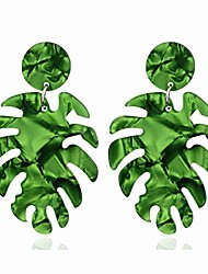 cheap -fashion acrylic statement palm leaf earrings resin tropical plant monstera leaves drop dangle earrings jewelry for women girls-green
