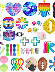 cheap -50PCS Push Bubble Pop Fidget Sensory Toy Colorful Push It Popping Silicone Game Toy Anxiety Stress Reliever Autism Learning Materials for Kids Children Adults