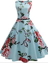 cheap -Audrey Hepburn Retro Vintage Hepburn Prom Dresses Dress Women's Jacquard Costume Sky Blue Vintage Cosplay Casual Homecoming Dress Knee Length A-Line / Belt / Belt