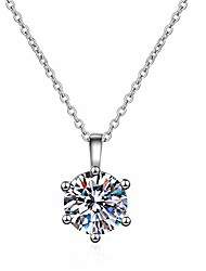 cheap -secretalk moissanite pendant necklace 1ct 18k white gold plated silver d color ideal cut diamond necklace for women with certificate of authenticity (classic 6p)