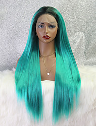 cheap -halloweencostumes Synthetic Lace Wig kinky Straight Style 24 inch Green Middle Part 4x13 Closure Wig Ladies Wig Green / Blue / Synthetic Hair