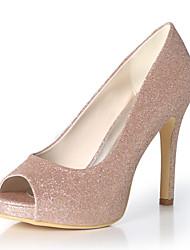 cheap -Women's Wedding Shoes Stiletto Heel Peep Toe Gleit Solid Colored White Light Purple Black