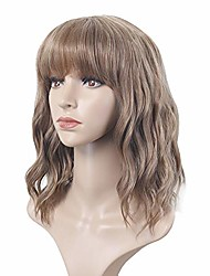 cheap -aideshair wave wig with air bangs women's short light brown wig curly wave synthetic cosplay girl colorful wig (light brown)…