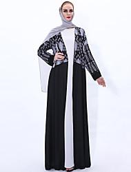 cheap -Arabian Adults Women's Cosplay Abaya Dress Arabian Dress For Party Halloween Chemical Fiber Sequin Floral Botanical Halloween Carnival Masquerade Dress