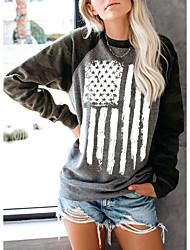 cheap -Women's Sweatshirt Pullover Striped American US Flag Stars Print Casual Daily Sports Hot Stamping Sportswear Streetwear Hoodies Sweatshirts  Loose Black