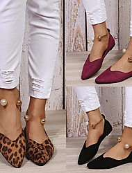 cheap -Women's Flats Block Heel Round Toe Suede Imitation Pearl Solid Colored Leopard Burgundy Black