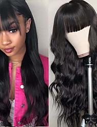 cheap -Body Wave Wigs With Bangs Brazilian None Lace Front Wigs Virgin Human Hair Wigs 150% Density Glueless Machine Made Wigs For Black Women