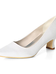cheap -Women's Wedding Shoes Chunky Heel Square Toe Gleit Solid Colored White Light Purple Black