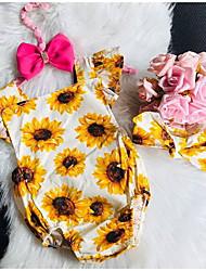cheap -Baby Girls' Romper Basic Cotton Yellow Floral Sleeveless / Summer