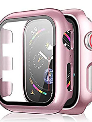 cheap -pocoukate 2 pack apple watch case with tempered glass screen protector hard pc compatible with apple watch series se/6/5/4 40mm, iwatch accessories full scratch-resistant protective cover - rose-gold