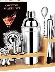 cheap -Cocktail Shaker Set Bartender Kit 17 Pcs Bar Set with Bamboo Stand Premium Stainless Steel Bar Tool Set Home Bar Martini Shaker Set