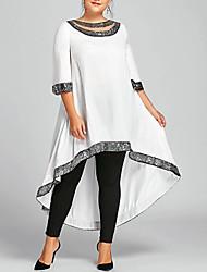 cheap -Women's Plus Size Swing Dress Midi Dress White Black Blue Wine Navy Blue Half Sleeve Solid Color Clothing Spring Summer Round Neck Casual 2021 XL XXL 3XL 4XL 5XL Plus Size