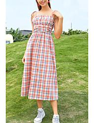 cheap -Women's Strap Dress Midi Dress Blushing Pink Sleeveless Plaid Print Fall Summer Boat Neck Casual Holiday 2021 XS S M L / Cotton / Cotton