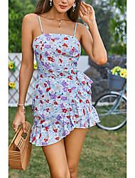 cheap -Women's Strap Dress Short Mini Dress Light Blue Sleeveless Floral Print Summer Boat Neck Casual Holiday 2021 XS S M L