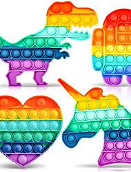 cheap -4 Pcs Push Pop Bubble Fidget Sensory Toy Rainbow Decompression ToysPop Popper Fidget Toy Squeeze Toy for Adult Kids Anxiety Emotional Stress Relief Popular Office Desktop Game4 Shapes