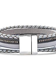 cheap -popular multi-layer retro bracelet bohemia magnet clasp bracelet alloy tree of life pu leather bracelet