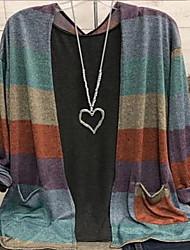 cheap -Women's Plus Size Tops Blouse Stripes Long Sleeve Collar Purple Yellow Brown Big Size L XL XXL XXXL