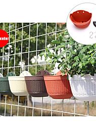 cheap -10 PCS Thickened Resin Environmentally Friendly Wall-mounted Flower Pot Imitation Rattan Semi-Circular Balcony Garden Flower Pot