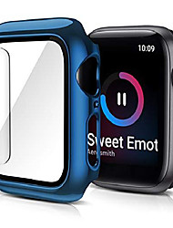 cheap -Smart watch Case case compatible with apple watch series 6 se 5 4 hard plating pc case slim tempered glass screen protector overall protective cover compatible with iwatch 40mm blue.