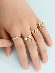cheap -Ring Set Fashion Personality Coin Tag Ring Hollow Five-Pointed Star Twist Joint Ring 5-Piece Combo Set