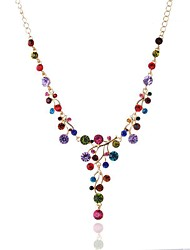 cheap -fashion diamond necklace y-shaped colored diamond necklace clavicle chain accessories