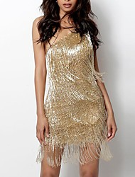 cheap -The Great Gatsby Roaring 20s 1920s Vacation Dress Summer Dress Masquerade Women's Sequins Tassel Fringe Off Shoulder Costume Golden Vintage Cosplay Party Homecoming Prom Sleeveless Knee Length