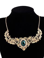 cheap -elegant necklaces ladies gold inlaid gemstone short necklace