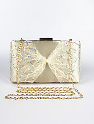 cheap -Women's Bags Polyester Evening Bag Bowknot Sequin Solid Color Bowknot Party Wedding 2021 Chain Bag Blushing Pink Champagne Silver Black