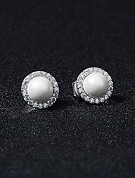 cheap -Women's White Stud Earrings Drop Earrings Hoop Earrings Retro Mini Stylish Artistic Simple Vintage Sweet Imitation Pearl Earrings Jewelry Silver For Party Wedding Daily Holiday Festival 2pcs