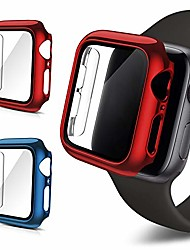 cheap -Smart watch Case 2pack case compatible with apple watch series6/se/5/4 hard plating pc case slim tempered glass screen protector overall protective cover replacement for iwatch. (red+blue, 40mm)