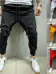 cheap -Men's Sporty Casual / Sporty Breathable Soft Pants Chinos Cotton Sports Weekend Pants Solid Color Full Length Drawstring Elastic Waist Yellow White Black Red