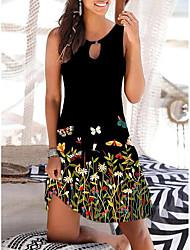 cheap -Women's A Line Dress Knee Length Dress Black flower Black safflower Blue white flower Black yellow flower Purple Sleeveless Floral Animal Print Spring Summer Round Neck Casual Holiday 2021 S M L XL