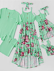 cheap -Family Sets Family Look Cotton Floral Daily Wear Patchwork Green Short Sleeve Maxi Daily Matching Outfits / Summer / Print