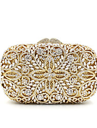 cheap -Women's Bags Alloy Clutch Crystals Chain Hollow Crystal / Rhinestone Rhinestone Party Wedding Evening Bag Wedding Bags Handbags Gold