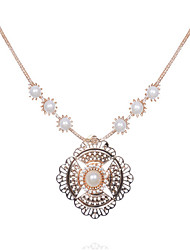 cheap -Women's Pearl Pendant Necklace Classic Flower Fashion Alloy Gold 45+5 cm Necklace Jewelry 1pc For Anniversary Street Birthday Party Festival